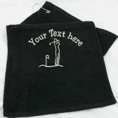 Golf Towel embroidered with 1 line of Text above Golfer.